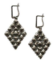 Liquid Metal Large Diamond Shape Mesh Earrings by Sergio Gutierrez E15