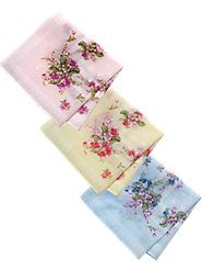 100% Cotton Floral Printed Hankies, for Dress-Up and Every Day