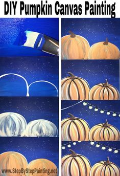 Acrylic Painting For The Absolute Beginner! Step by step tutorial for how to paint pumpkins on canvas.Step by step tutorial for how to paint pumpkins on canvas. Pumpkin Canvas Painting, Autumn Painting, Autumn Art, Fall Paintings, Canvas Paintings, Canvas Art, Canvas Painting Tutorials, Diy Painting, Acrylic Painting For Kids