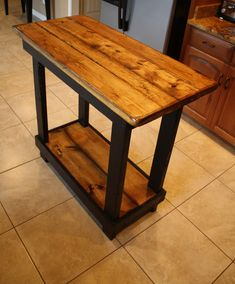 Unique Primtiques Multi Functional Tall Burnt Golden Oak Stained Black Table…
