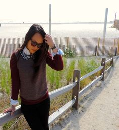 """A Beach Encounter"" #ootd #lookoftheday #wiw #fashion #fallfashion #fashionista #fashionblogger #tumblr #style #streetstyle #preppystyle #preppy #layers #jcrew #peterpancollar #jewels #jeweledcollar #herringbone"