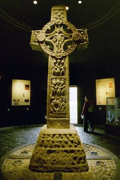 """""""Cross of the Scriptures"""" Clonmacnois. Sandstone. Erected c900 CE by Abbot Colman for the High King Flann. Ireland."""