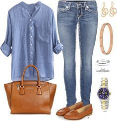 Stay effortlessly chic with blue linen shirt,jeans and stylish accessories! 15 more ideas to look more stylish. Stay effortlessly chic with blue linen shirt,jeans and stylish accessories! 15 more ideas to look more stylish. Mode Outfits, Fashion Outfits, Fashion Ideas, 30 Outfits, Dinner Outfits, Fashionable Outfits, Jean Outfits, Dress Fashion, Fashion Clothes