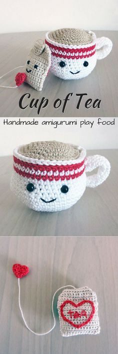 Eek! What an adorable little cup of tea with a tea bag crocheted play food amigurumi! This would be a perfect handmade gift for a toddler! So adorable! This link is for an Etsy listing to the finished product, but I think I could figure out how to make this myself. #etsy #ad