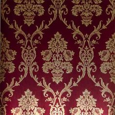 Red & Gold Damask Wallpaper