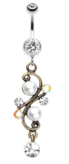 Vintage Pearl Journey Belly Button Ring - 14 GA (1.6mm) - Clear - Sold Individually