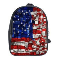 American Flag Blocks School Bag (Large)