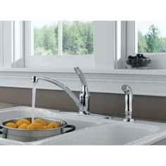Delta Foundations Single-Handle Side Sprayer Kitchen Faucet in Chrome-B4410LF at The Home Depot