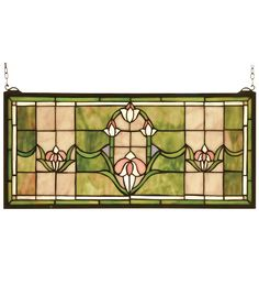 Stylized Tulips adorn this Peach and Avocado stainedglass window. The window is handcrafted utilizing thecopperfoil construction process and 159 pieces ofstained art glass encased in a solid brass fra