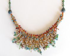 Beaded Statement Necklace with Paper Bead & Crystal Fringe. $80.00, via Etsy.