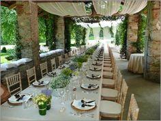 Tischdekoration Hochzeit im Freien Veranda