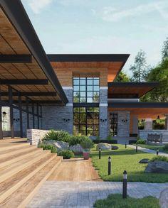 Design Exterior, Facade Design, Modern Exterior, Architecture Design, Garden Architecture, Modern House Plans, Modern House Design, Stone Facade, Dream House Exterior