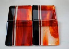Flame Red Fused Glass Coasters by dortdesigns on Etsy, $25.00
