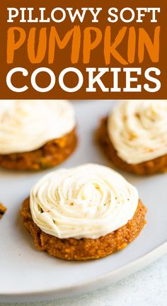 These soft pumpkin cookies are like pillowy clouds that melt in your mouth. They're loaded with pumpkin flavor, grain-free and made without any oil! Top with frosting for a cute (or spooky) treat. #eatingbirdfood #pumpkin #cookies #thanksgiving #halloween #fallrecipes #grainfree #oilfree #pumpkincookies #healthy Soft Pumpkin Cookies, Pumpkin Bread, Good Healthy Recipes, Healthy Treats, Pumpkin Recipes, Fall Recipes, Easy Halloween Food, Bird Food, Healthy Pumpkin