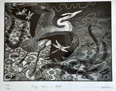 Grey Heron and Eel ~ Wood Engraving ~ Colin See-Paynton ~ The Wildlife Art Gallery Museum Art Gallery, Scratchboard, Black And White Drawing, Wood Engraving, Wildlife Art, Beautiful Birds, Beautiful Things, Woodblock Print, Bird Art