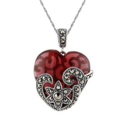 "BESTSELLER! Sterling Silver Oxidized Marcasite and Gemstone Colored Glass Heart Pendant Necklace, 18"" $39.00"