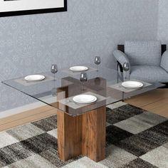 Mesa com Tampo de Vidro 140 x 140 cm 8 Lugares - Dalla Costa - Mesa de Jantar no Pontofrio.com