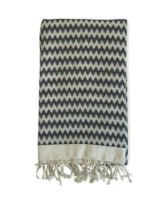 Fouta Black and Natural Zig Zag Throw