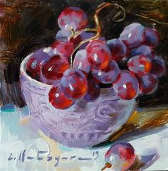 DPW Original Fine Art Auction - Grapes in Lilac Bowl - © Elena Katsyura Painting Recipe, Fruit Painting, Pour Painting, Grape Painting, Still Life Art, Fine Art Gallery, Portrait Art, Framed Art, Art Projects