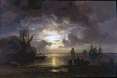 Vycházející měsíc nad Elbou (cca 1864) Christian Ernst Bernhard Morgenstern