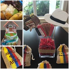 Table decor and favors for a Colombian Theme Party. Centros de mesas y souvenirs/recuerdos para una fiesta temática Colombiana. Fonda Paisa, Glamour Cake, Babyshower, Party Themes, School, Birthday, Gifts, Ideas, Fashion