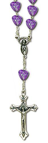 """Cool & Custom {1"""" x 1.5"""" Bead Chain Hang} Single Unit of Rear View Mirror Hanging Ornament Decoration Made of Zinc Alloy w/ Fancy Decorative Christian Cross Design [Chrysler Silver & Purple Colored] mySimple Products"""