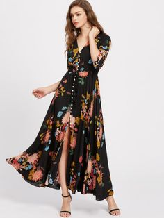 Looking for Milumia Women's Button Up Split Floral Print Flowy Party Maxi Dress ? Check out our picks for the Milumia Women's Button Up Split Floral Print Flowy Party Maxi Dress from the popular stores - all in one. Bohemian Mode, Boho Fashion, Womens Fashion, Dress Fashion, Fashion Spring, Fashion Styles, Fashion Clothes, Fashion Brands, Style Fashion