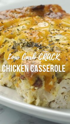 Low-Carb Crack Chicken Casserole - crustless quiche with chicken, cheddar, bacon & ranch Low-Carb Crack Chicken Casserole - seriously delicious! You'll never miss the carbs! Chicken, cheddar, bacon, ranch, eggs, heavy cream. Can make in advance and freeze for a quick meal later. Everyone LOVES this casserole! #chicken #casserole #lowcarb #keto #videos #chickencasserole