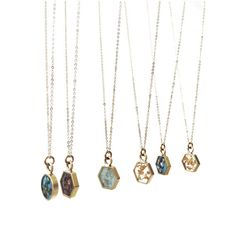 Hexagon & Round Resin Inlay Necklaces #cameokojewelry #cameoko www.cameoko.com