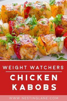 Weight Watchers Chicken Kabobs Grilled Chicken Kabobs, Chicken Kabob Recipes, Grilled Asparagus Recipes, Chicken Teriyaki Recipe, Corn Recipes, Grilling Recipes, Marinated Chicken, Healthy Recipes, Ww Recipes