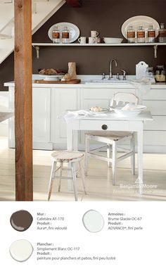 Benjamin Moore paint color 'French Press creates a rich, luscious look in this kitchen. Remodeling Mobile Homes, Home Remodeling, Kitchen Design, Kitchen Decor, Benjamin Moore Colors, Interior Paint Colors, Home Trends, White Rooms, Color Of The Year