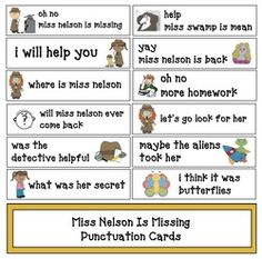 Miss Nelson is Missing activities:  FREE Miss Nelson is Missing punctuation cards.  Fun way to review the story at the same time practicing end punctuation & capitalization.
