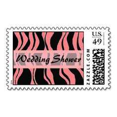 Black and Pink Zebra Stripe Wedding Shower Postage Stamps