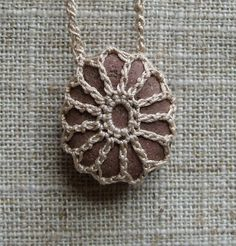 Your marketplace to buy and sell handmade items. River Rock by TheTreeFolkHollow - Crochet Crafts, Yarn Crafts, Crochet Projects, Crochet Stone, Knit Crochet, Rock Necklace, Stone Necklace, Pendant Necklace, Selling Handmade Items