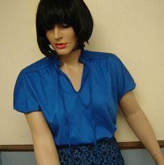 Plus Size Vintage Blue Blouse Size 16 Plus Size Vintage, Blue Blouse, Size 16, Royal Blue, 1960s, Google Chrome, Sleeves, Secretary, Closure
