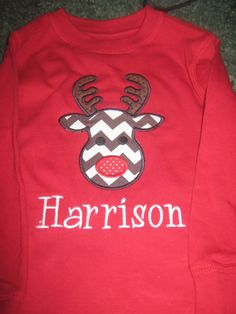 Boys reindeer appliqued shirt by Chrissysbowsandmore on Etsy, $20.00