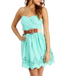Mint Strapless Sundress ♥ this dress, with the right kind of boots would be cute or heels!