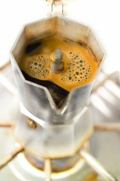 "Homemade Espresso Moka Pot Brewing Serving coffee directly at the table...""fashion"" coming back!"