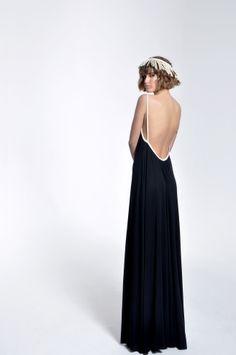 Black Open Back Maxi Dress