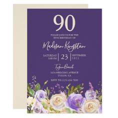 Champagne White Rose Purple 90th Birthday Party Card - birthday cards invitations party diy personalize customize celebration