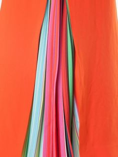 Mary Katrantzou rainbow stripe pleat dress