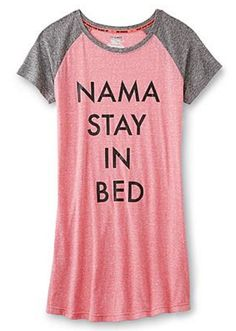 Namastay in bed just a little bit longer...because you can stretch under the covers, right? This yoga-tastic Joe Boxer night shirt is a must-have for slumber party night.