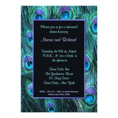 Peacock Wedding Save the Date Cards Peacock Feather Rehearsal Dinner Invitation