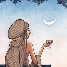 Evening Cup. Fine art print of original painting, pen, ink and watercolor. The serenity of an evening glass, under the moon..