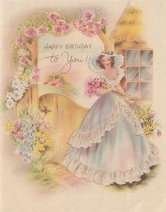 Vintage Greeting Card Girl Lady Southern Belle Birthday 1940s A013 | eBay
