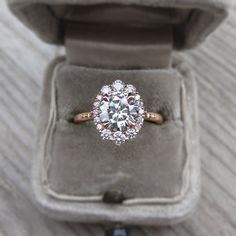 Forever One Moissanite Engagement Ring & Diamond Halo (1.6ct) | Kristin Coffin Jewelry. #VintageHaloRing #DiamondHaloRing #MoissaniteHaloRing #HaloEngagementRing #RoseGoldRing