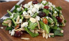 #spinach #cherry #orzo #salad with #cherries, #feta, #pinenuts or #almonds, #garlic, #evoo #seasalt & #pepper