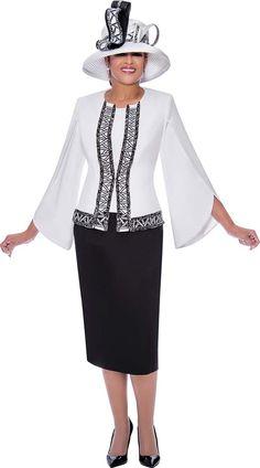 Women Church Suits, Suits For Women, Clothes For Women, Church Dresses, Dresses For Work, Black Skirt Suit, Skirt Suits, Classy Suits, White Women