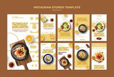 Plantilla de historias de instagram con ... | Free Psd #Freepik #freepsd #comida #negocios #diseno #plantilla Food Graphic Design, Food Menu Design, Food Poster Design, Bio Food, Brunch, Menu Book, Food Sketch, Food Banner, Food Advertising