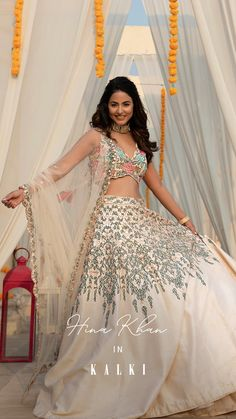 #kalkikesa Hina Khan looked radiant & is setting the EID Celebration mood brilliantly. ✨ She chose this beautiful pearl hued lehenga with a V-neck bustier embellished in intricate floral artwork. This attire beamed absolutely well with her.😍 She gave us a solid EID glam inspo! #EIDMUBARAK 🌙 Coral, Pakistani Dresses Casual, Floral Artwork, Boho, Lehenga Choli, Spring, Indian Fashion, Designer Dresses, Outfit Ideas